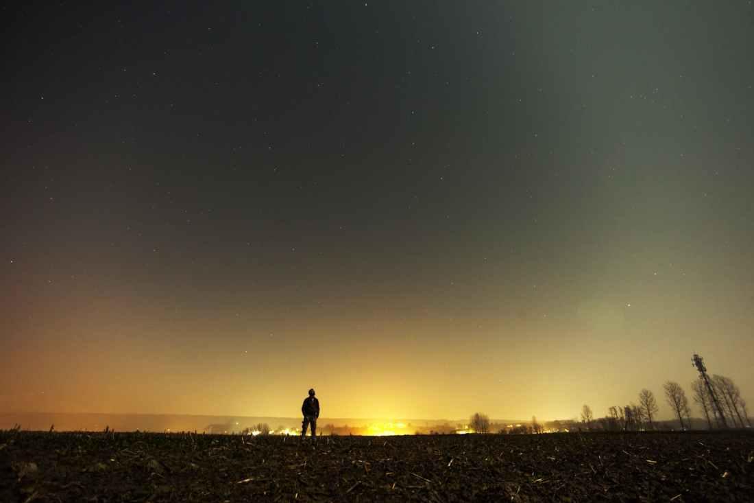 sky man person night